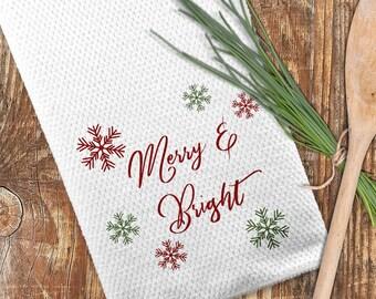 Merry & Bright Towel, Christmas Kitchen Towel, Custom Christmas Towel
