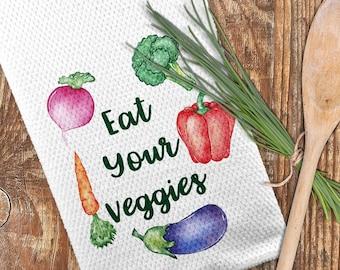 Veggies Kitchen Towel, Eat Your Veggies Towel, Vegetable Towel