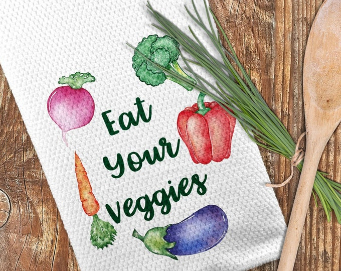 Featured listing image: Veggies Kitchen Towel, Eat Your Veggies Towel, Vegetable Towel