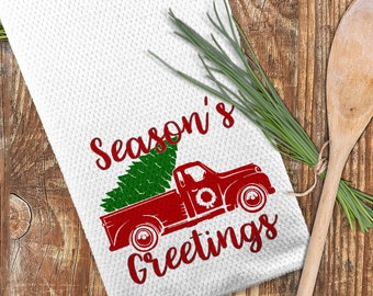 Red Christmas Truck Towel, Season's Greetings Towel, Christmas Kitchen Towel