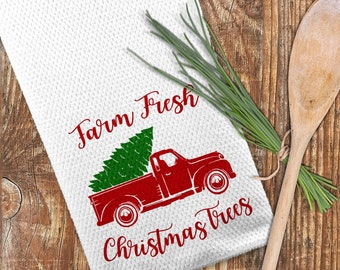 Farm Fresh Christmas Trees Towel, Christmas Truck Towel, Christmas Kitchen Towel