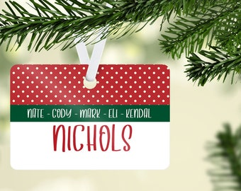 Family Christmas Ornament, Personalized Name Ornament, Family Name Ornament