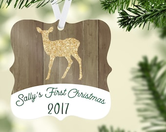 Baby's First Christmas Ornament, Baby Deer Ornament, Personalized Ornament