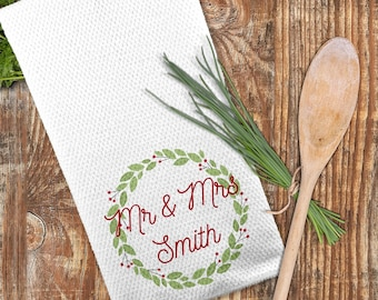 Mr and Mrs Christmas Towel, Christmas Wreath Towel, Couple's Gift