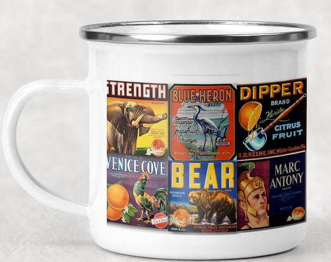 Featured listing image: Classic Orange Label Mug, Retro Camp Cup, Vintage Style Camp Mug