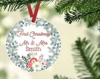First Christmas Ornament, Mr and Mrs Ornament, Floral Christmas Ornament
