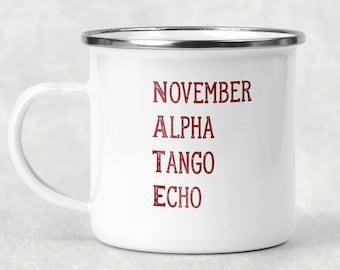 Military Alphabet Mug, Custom Name Camp Cup, Military Name Mug