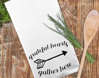 Grateful Hearts Gather Here Towel, Farmhouse Decor, Thanksgiving Towel