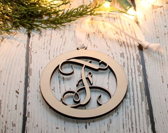 Custom Monogram Ornament, Scroll Letter Ornament, Personalized Wood Ornament