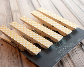 Yellow Gingham Clothespin Magnets, Set of 5