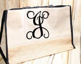 Monogrammed Jute Tote Bag, Custom Initial Tote Bag, Large Jute Tote Bag