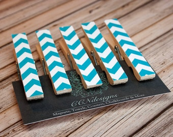 Aqua Blue Chevron Clothespin Magnets, Set of 5