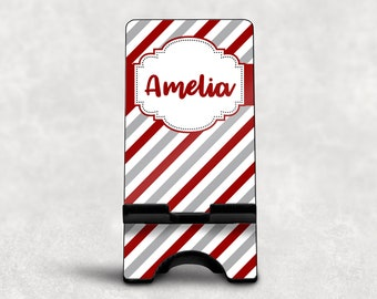 Red and White Phone Stand, Custom Striped Phone Stand for Desk, Personalized Phone Dock