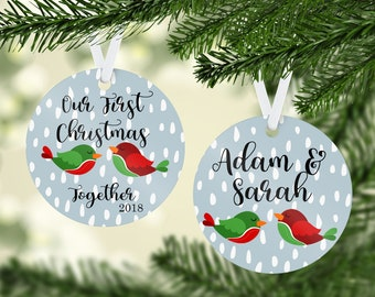 Our First Christmas Together Ornament, Couple's Ornament, Personalized Name Ornament