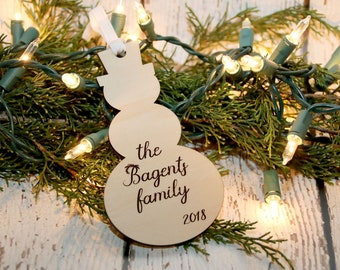 Personalized Snowman Ornament, Custom Name Ornament, Family Name and Year