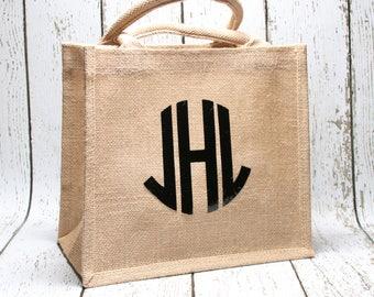 Circle Monogram Jute Tote Bag, Custom Tote Bag, Personalized Tote