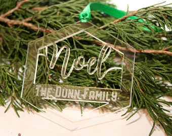 Personalized Noel Ornament, Custom Name Ornament, Family Ornament