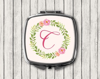 Pink Floral Monogrammed Mirror, Custom Monogram Mirror, Personalized Compact