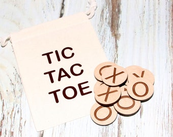 Tic Tac Toe Travel Game Set, Wood Travel Game