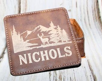 Last Name Rustic Coaster Set, Personalized Leatherette Coasters, Deer Coaster Set
