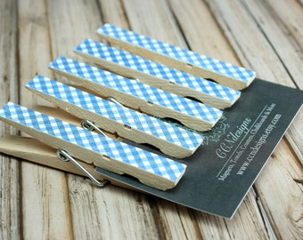 Blue Gingham Clothespin Magnets, Set of 5