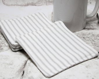 Gray Ticking Coasters, Set of 4