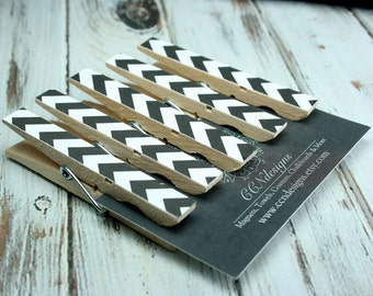 Black Chevron Clothespin Magnets, Set of 5