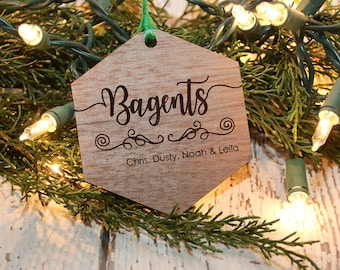 Family Name Ornament, Custom Name Ornament, Personalized Ornament