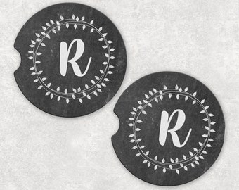 Monogrammed Car Coaster, Chalkboard Style Coaster, Initial Coaster