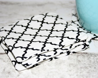 Black & White Quatrefoil Coasters, Set of 4