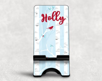 Winter Tree Design Phone Dock, Personalized Phone Stand, Monogrammed Phone Stand
