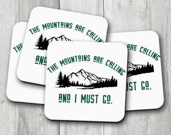 Mountains are Calling Coaster Set, Nature Lover Coasters, Outdoor Enthusiast Coaster