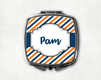 Blue and Orange Stripe Makeup Mirror, Custom Name Mirror, Personalized Compact