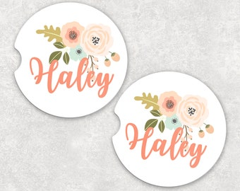 Pink Floral Name Car Coaster, Custom Name Coaster, Personalized Car Coaster
