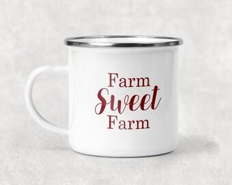 Farm Sweet Farm Camp Mug, Farm Mug, Metal Coffee Mug