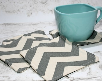 Gray Chevron Coasters, Set of 4