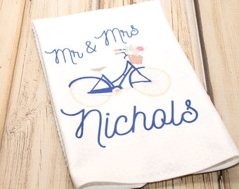 """Mr and Mrs Bicycle Towel, Kitchen Towel 16""""x24"""""""