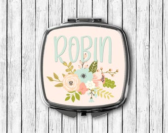 Pink and Blue Floral Mirror, Custom Name Mirror, Personalized Compact