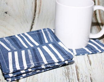 Blue Abstract Design Fabric Coaster, Blue and White Coaster