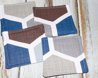 Blue Hexagon Design Coaster, Blue and Brown Fabric Coaster, Honeycomb Design Coaster