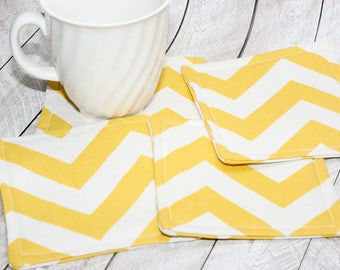 Yellow Chevron Coasters, Set of 4