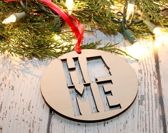 Home State Christmas Ornament,Personalized Ornament, Laser Cut Ornament