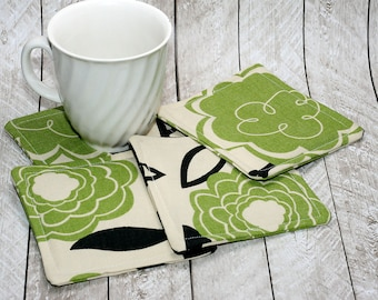 Green & Black Flower Coasters, Set of 4