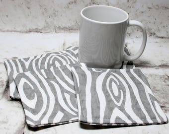 Gray Wood Coaster Set, Gray Fabric Coaster Set, Gray Wood Print Coasters