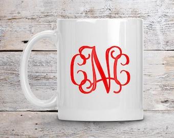 Monogram Coffee Mug, Custom Initial Mug, Custom Color Mug