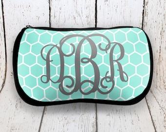 Mint Honeycomb Monogrammed Cosmetic Bag