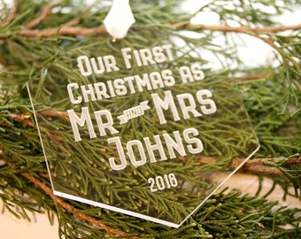 Mr and Mrs Ornament, Our First Christmas Married Ornament, Hexagon Ornament