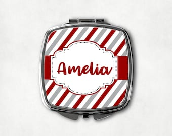 Red and Gray Stripe Makeup Mirror, Custom Name Mirror, Personalized Compact