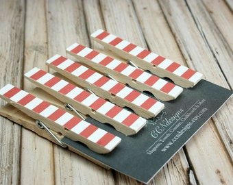 Red & White Stripe Clothespin Magnets, Set of 5
