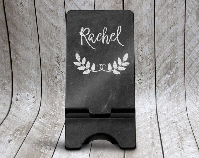 Featured listing image: Chalkboard Phone Stand, Custom Phone Holder, Personalized Phone Dock